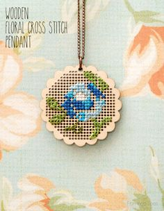 Wooden Floral Cross Stitch Pendant -