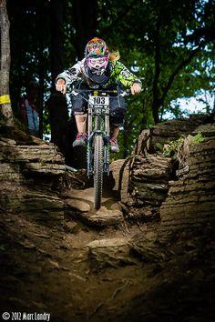 Downhill mountain bike girl