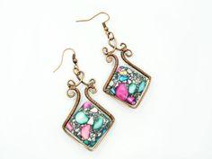 Wire wrap earrings handmade copper por MargoHandmadeJewelry en Etsy