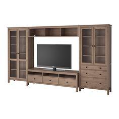 IKEA - HEMNES, TV storage combination/glass doors, grey-brown,