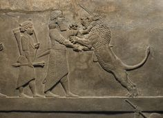 Ashurbanipal drives a spear into one lion's mouth but another, which has been hit by arrows and left for dead, leaps up to maul the king's spare horse, alabaster wall panel relief, North Palace, Kouyunjik, Nineveh, Iraq, neo-assyrian, 645BC-635BC