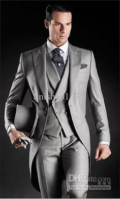 New 2014 Beautiful Light Grey Morning Suits Groom Tuxedos Suit (Jacket+Pants+Vest+Tie+Kerchief) A:73