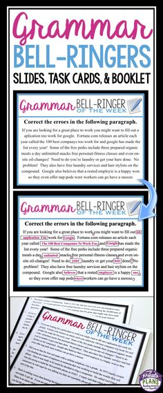 Bell ringers 240 daily warm ups with answer slides common core grammar bell ringers task cards fandeluxe Images