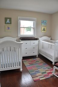 """Soft and colorful boy and girl twin nursery. #twin #nursery"""" data-componentType=""""MODAL_PIN"""