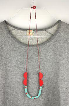 Red turquoise necklace minimal funky polymer by debroervandevogel