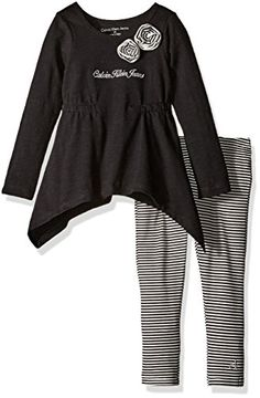 Calvin Klein Little Girls Toddler Slub Jersey Tunic with Leggings Set Black 3T * Click image to review more details.Note:It is affiliate link to Amazon.