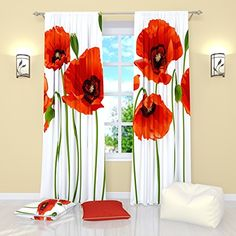 White Curtains by Factory4me Red poppies Blackout Window Treatment Curtain Panel Set of 2 Bedroom Kitchen Living Room W84 x L84 Polyester -- Click for Special Deals
