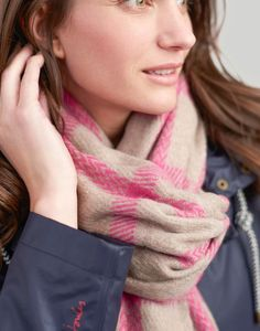 Joules UK Briar Womens Heavyweight Scarf Pink Check Traditional Windows, Joules Uk, Womens Scarves, Pink, Check, Style, Fashion, Swag, Moda