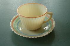 Vintage Petalware Pastel Bands Macbeth Evans Cup Saucer Cremax Monax | eBay