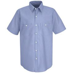 Men's Striped Industrial Short Sleeve Work Shirt - Automotive Workwear <Mechanic Boyfriend>