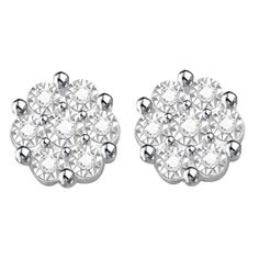 0.45ct  VVS Diamond Platinum Over Flower Stud Earrings Q671 #Stud