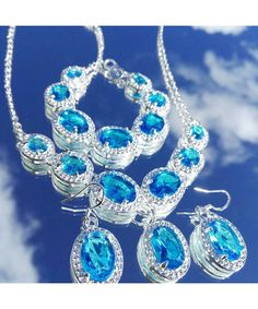 Vintage inspired silver jewellery set in light blue