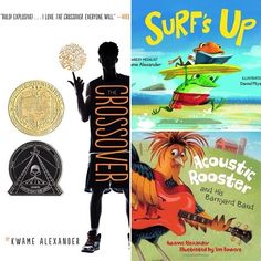 RG @chsbookmobile @kwamealexander will be signing copies of THE CROSSOVER (2015 #newbery) SURFS UP and ACOUSTIC ROOSTER on Saturday at the Hampton park gazebo for #authorsinthepark! Join us! #books #readlocal #buylocal #awardwinner #diversebooks #middlegrade #picturebooks #picturebook #charleston #chs #hamptonpark #charlestongood