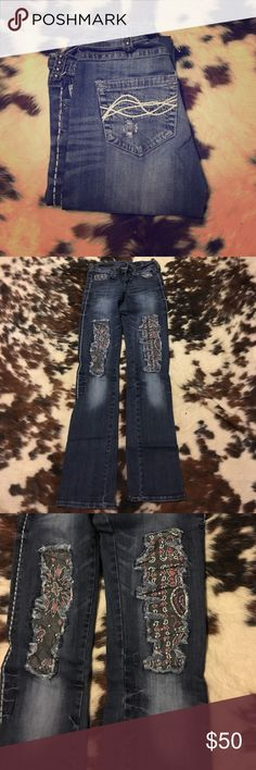 Cowgirl Tuff Jeans New! Never worn! Bandanna design! cowgirl tuff Jeans Boot Cut
