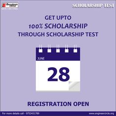 GET UPTO 100% SCHOLARSHIP THROUGH SCHOLARSHIP TEST. test will be held on 28 - June - 2015 ‪#‎Scholarship‬ ‪#‎test‬