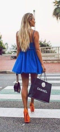 Blue Tulle Little Dress, Color Block Orange Platform Heels |Janni Deler                                                                             Source
