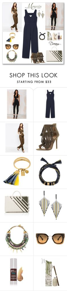 """Jumpsuit"" by ludmyla-stoyan ❤ liked on Polyvore featuring Oh My Love, MANGO, Millie Mackintosh, Chloé, Aurélie Bidermann, Anya Hindmarch, COOMI, Lizzie Fortunato, Miu Miu and It Cosmetics"
