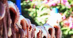 Focus.de - Adonis hängt in seinem Fischrestaurant am Plimmiri Beach Oktopoden zum Trocknen auf - Foto