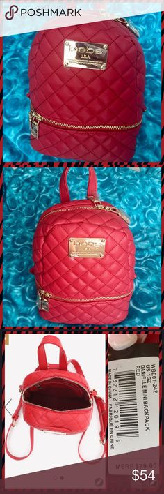 """NWT Bebe Danielle Red Mini Backpack NWT Authentic Brand New bebe Mini Backpack - RED  Can be carried as a backpack or adjust the length to carry on one shoulder.  Both straps are detachable.  Faux leather backpack in a chic quilted design. Goldtone hardware adds a haute touch. Detachable adjustable straps. Goldtone bebe logo plate. Height: 9"""" (23 cm), width: 7.5"""" (19 cm), depth: 4"""" (10.25 cm) Top zip closure and front bottom zip pocket for extra storage Interior - one zip pocket and one open…"""