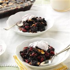 Black Forest Dump Cake Recipe -I make a Black Forest cake the easy way: Dump everything into a dish and let the magic happen. Give it a cherry topping by reserving two tablespoons of juice from the canned cherries and stir into whipped cream. —Meghan McDermott, Springfield, Missouri