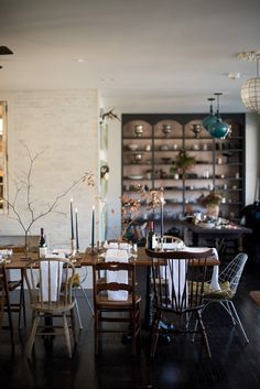 A Daily Something | Holiday Table Inspiration - dining room decor, mixed chairs, tiled wall, built-in shelving