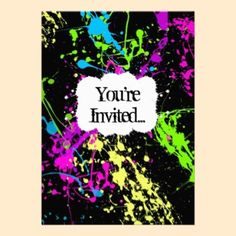 Fresh Retro Neon Paint Splatter Party Invitation. Hip, fresh and awesome paint splatter to celebrate a 16th birthday.
