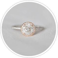 Vintage halo, rose gold #diamonds engagement #ring. http://jangmijewelry.com/