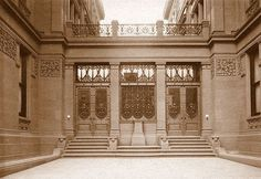"""Entrance and bronze doors, from the William Henry Vanderbilt - Gilded Age, NYC mansion. 640-642 Fifth Ave. From: """"Mr. Vanderbilt's House and Collection"""", c.1883."""