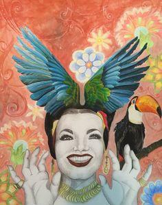 Carmem Miranda maravilhada com as belezas do Brasil, Arara, Tucano, em aquarela e graffiti.