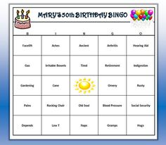 Custom Birthday Party Bingo Game