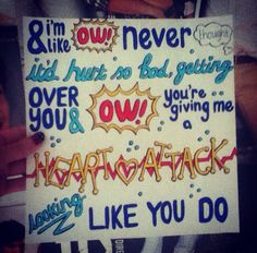 One direction lyrics drawing of heart attack, drawn by me ☺️