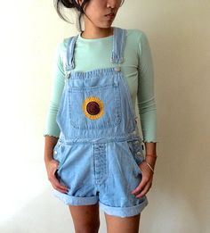 Sunflower Denim Overall Shorts, Embroidered Jean Shortalls, Light Wash… Denim Overall Shorts, Jean Shorts, Soft Grunge, 90s Fashion, Fashion Outfits, Summer Outfits, Cute Outfits, Mellow Yellow, Overalls