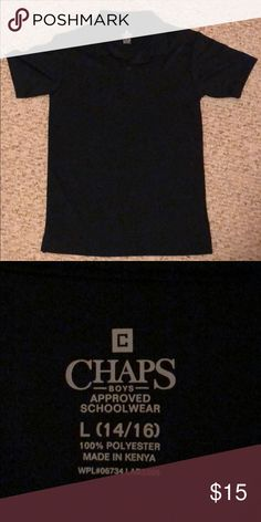 Chaps boys shirt Navy blue Chaps boys Large 14-16 short sleeve shirt is still in good condition and ready for a new adventure :) Chaps Shirts & Tops Polos