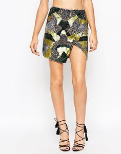Image 4 of ASOS Wrap Skirt in All Over Camouflage Sequin