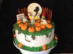In the pumpkin patch - Charlie Brown Halloween cake.