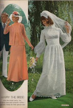 Kathy Loghry Blogspot: Crazy Catalog Stuff - Part 4: Say Yes to the Dress! Vintage Bridesmaid Dresses, Vintage Inspired Wedding Dresses, Chic Vintage Brides, Vintage Wedding Photos, Vintage Mode, Vintage Bridal, Designer Wedding Dresses, Bridal Dresses, Vintage Weddings