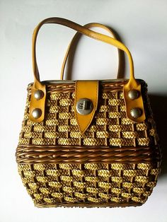 20% OFF Vintage Handmade Wicker Bag with Orange Strap and Metal Fastener  - made in Poland 70s