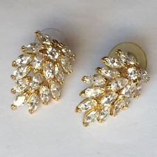 Gold plated earrings with push backs and prongs set rhinestones Lot 76