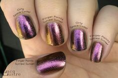 Finger Paints Surreal Sunset Orly Space Cadet Comparison - my SS is more corally pink than purple…hmmm