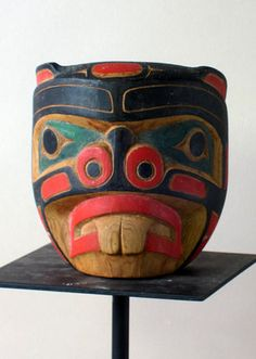 """Kwakiutl Beaver Mask  British Columbia, Canada  4.5 inches, cedar, color dye  This handsome beaver is signed by Stan Matilpi, a well known First Nations carver. Though I learned to call these Indians Kwakiutl, the preferred name today is Kwakwaka'wakw. We refer to masks of this small size as """"companion masks."""""""