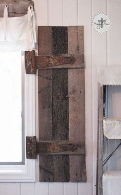 diy barn wood shutters from pallets, carpentry woodworking, diy renovations projects, pallet projects, repurposing upcycling Barn Wood Projects, Pallet Projects, Home Projects, Pallet Ideas, Woodworking Projects, Wood Shutters, Window Shutters, Shutters Inside, Country Shutters