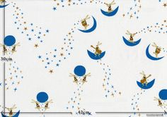 moon rabbits - color A(white) / exact size-表示範囲の実寸 A3(A4x2)size / full width 108cm