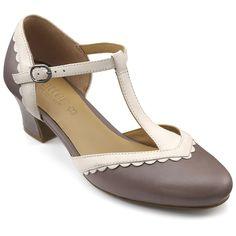 1920s Shoes Viviene Heels - Truffle  Cream - LOVE THIS COLOR