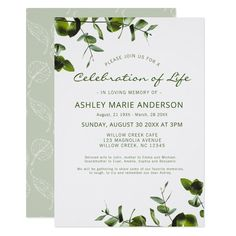 Shop Elegant Eucalyptus Memorial Celebration Of Life Invitation created by MountHope. Personalize it with photos & text or purchase as is! Elegant Invitations, Zazzle Invitations, Party Invitations, Memorial Cards For Funeral, Funeral Guest Book, Bereavement Gift, Leaf Illustration, White Leaf, Think