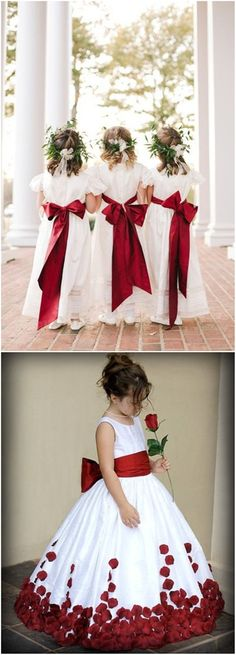 Red and White Flower girl dresses for christmas wedding