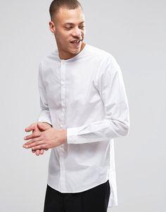 Image 1 of Weekday Grimm Collarless Shirt Long Tail in White · White Shirt  MenMen's White ShirtsMens Casual ShirtsLabFashion OnlineMen's ...