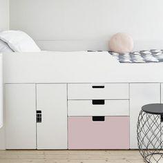 Ikea Storage Furniture, Bed Furniture, Bed With Drawers Underneath, Girls Bedroom, Bedroom Decor, Kids Bedroom Storage, Decoration Stickers, Bunk Bed Designs, Elegant Homes