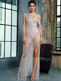 To find out about the LOVE&LEMONADE Split Thigh Sheer Maxi Sequin Mesh Dress at SHEIN, part of our latest Dresses ready to shop online today! Sequin Mesh Dress, Sequin Fabric, Dress P, Dress Outfits, Thigh Sleeve, Designer Evening Gowns, Bustier, Sequins, Glamour