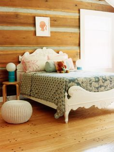 Cozy Girl Room With Rough Wood Walls..Discover more decor and organizing ideas for babies to teens @ http://kidsroomdecorating.net