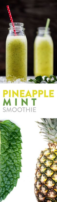 Pineapple Mint Smoothie — Evergreen Kitchen - Your taste buds will be whisked away by the sweet, juicy pineapple combined with the refreshing twist of mint. Smoothies Vegan, Mint Smoothie, Smoothie Drinks, Smoothie Recipes, Detox Smoothies, Homemade Smoothies, Vegetable Smoothies, Fruit Smoothies, Yummy Drinks